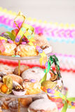 Carnival party. Party accessories for New Year Eve, birthday party or carnival Stock Photo