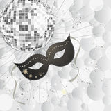 Carnival party. Illustration of a venetian mask and a silver mirror ball on transperency dots Royalty Free Stock Photos