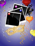Carnival party. Illustration of a mask, photos, balloons and ribbons on an abstract background Stock Image