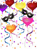 Carnival party. Illustration of venetian masks and balloons on a colorful background Royalty Free Stock Images