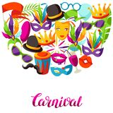 Carnival party background with celebration icons, objects and decor Royalty Free Stock Photo