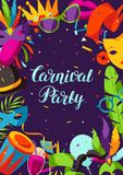 Carnival party background with celebration icons, objects and decor Stock Photos