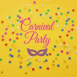 Carnival party background with colorful confetti. Top view. Carnival party background with colorful confetti. Top view stock photo