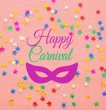 Carnival party background with colorful confetti. Top view. Carnival party background with colorful confetti. Top view stock photos
