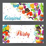 Carnival party banners with celebration icons, objects and decor Royalty Free Stock Images