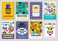 Carnival Party Banners. Flat set of carnival photo booth party invitation banners with various accessories for masquerade isolated vector illustration Royalty Free Stock Images