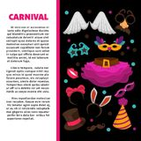 Carnival party bright accessories on promotional poster. Witches hat, colorful wigs, facial masks, star-shape glasses, angel wings, rabbit ears, birthday Royalty Free Stock Photo
