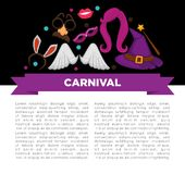 Carnival party bright accessories on promotional poster. Witches hat, colorful wigs, facial masks, star-shape glasses, angel wings, rabbit ears, birthday Stock Images