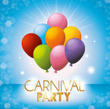 Carnival party colored balloons bright blue background Royalty Free Stock Photos