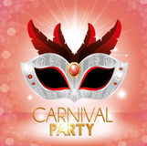 Carnival party cute mask red feathers pink bright background. Vector illustration eps 10 Royalty Free Stock Photography