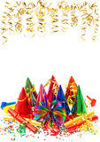 Carnival party decoration garlands, streamer and confetti Royalty Free Stock Image