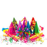 Carnival party decoration garlands, streamer and confetti royalty free stock photo