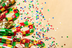 Carnival party decorations. Holidays background Stock Images