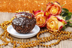 Carnival party dessert: italian round shape chocolate cake Royalty Free Stock Photos