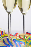 Carnival-Party - Faschingsfeier. 2 Glasses of Sparkling Wine on Carnival - 2 Sektfloeten zu Fasching stock photography