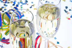 Carnival Party - Faschingsfeier. 2 Glasses of Sparkling Wine with carnival decoration - 2 Sektglaeser mit Faschingsdekoration Stock Photos