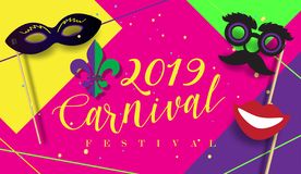 Carnival Party Festive poster Mardi Gras, Brazilian Festival sign template vector. 2019 Carnival festive posters set. Musicians, confetti fireworks, mask stock illustration