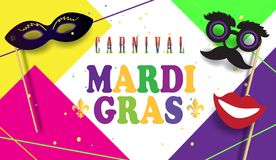 Carnival Party Festive poster Mardi Gras, Brazilian Festival sign template vector. 2019 Carnival festive posters set. Musicians, confetti fireworks, mask royalty free illustration