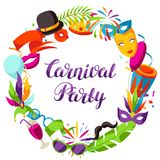Carnival party frame with celebration icons, objects and decor.  Royalty Free Stock Photos