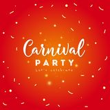 Carnival party Concept. Carnival party greeting card with mask, stars, firework Icons on shiny red background Royalty Free Stock Image