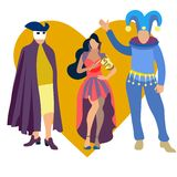 Carnival party icons set with people wearing costumes flat isolated raster. Illustration stock illustration