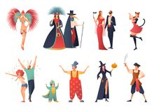 Carnival Party Icons Set. With people wearing costumes flat  vector illustration Stock Images
