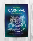 Carnival party invitation card. Mardi Gras party flyer. Royalty Free Stock Images