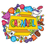 Carnival party kawaii background. Cute cats, decorations for celebration, objects and symbols Stock Photography
