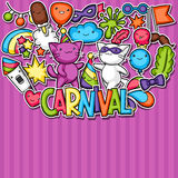 Carnival party kawaii background. Cute sticker cats, decorations for celebration, objects and symbols Royalty Free Stock Photos