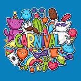 Carnival party kawaii background. Cute sticker cats, decorations for celebration, objects and symbols Royalty Free Stock Photography