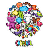 Carnival party kawaii background. Cute sticker cats, decorations for celebration, objects and symbols Royalty Free Stock Images