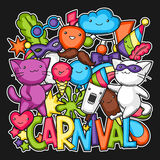 Carnival party kawaii print. Cute cats, decorations for celebration, objects and symbols Stock Photo