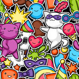 Carnival party kawaii seamless pattern. Cute sticker cats, decorations for celebration, objects and symbols Royalty Free Stock Photo