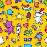 Carnival party kawaii seamless pattern. Cute sticker cats, decorations for celebration, objects and symbols Stock Photos