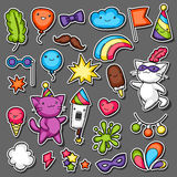Carnival party kawaii sticker set. Cute cats, decorations for celebration, objects and symbols Royalty Free Stock Photo