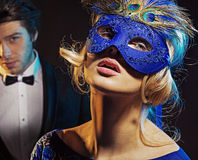 Carnival party for man and his wife Royalty Free Stock Photo