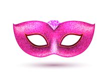 Carnival party masquerade pink mask background. Mardi gras mask venice celebration template isolated illustration.  royalty free illustration