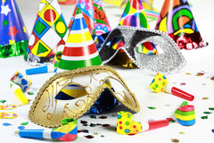 Carnival and party motive. Party accessories for New Year Eve, birthday party or carnival Stock Photos