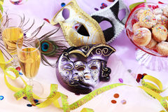 Carnival and party place setting. With mask Stock Photo