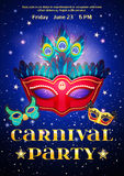 Carnival Party Poster With Date Of Event. And set of masquerade mask on night starry sky background flat vector illustration Royalty Free Stock Photos