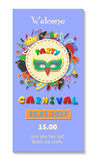 Carnival party poster design. Flyer or invitation template. Funfair ticket vector illustration Royalty Free Stock Image