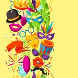 Carnival party seamless pattern with celebration icons, objects and decor Stock Photos