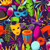 Carnival party seamless pattern with celebration icons, objects and decor Royalty Free Stock Photography