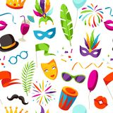Carnival party seamless pattern with celebration icons, objects and decor Stock Image