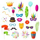 Carnival party set of celebration icons, objects and decor Royalty Free Stock Photo