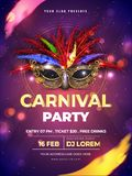 Carnival party template or flyer design with realistic party mask. vector illustration