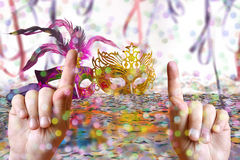 Carnival party time. Hands up for Carnival Party time theme Royalty Free Stock Photo