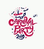 Carnival Party 2019. Title with Masks, ribbons and stars. Vector themed logo Carnival 2019 stock illustration