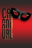 Carnival Party written with black mask and gold Royalty Free Stock Photos