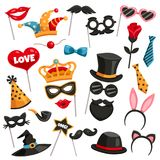 Carnival Photo Booth Party Icon Set. Colored and isolated carnival photo booth party icon set with masks of various characters vector illustration Royalty Free Stock Photos